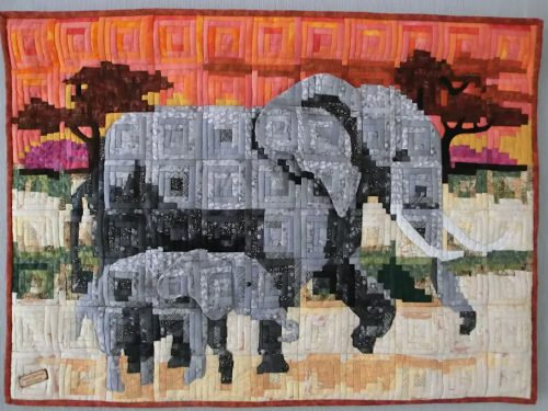 Olifant moeder en kind 80 X 100 cm Geboorte quilt voor kleindochter TIRZA