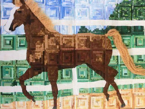Paard ( logcabin techniek) 80 x 100 cm Geboorte quilt voor onze kleindochter ISA